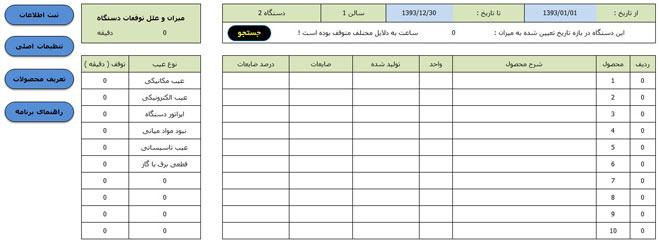فایل اکسل آمار تولید